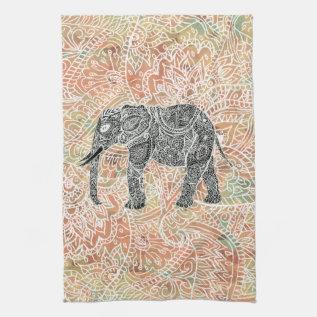 Tribal Paisley Elephant Colorful Henna Pattern Hand Towel at Zazzle