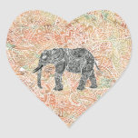 Tribal Paisley Elephant Colorful Henna Pattern Heart Sticker