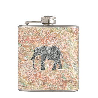 Tribal Paisley Elephant Colorful Henna Pattern Hip Flask