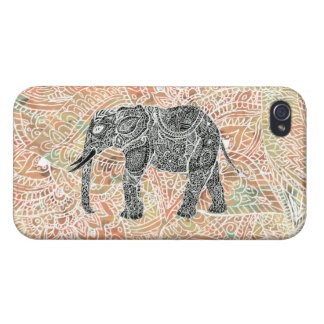 Tribal Paisley Elephant Colorful Henna Pattern iPhone 4 Cover