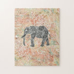 """Tribal Paisley Elephant Colorful Henna Pattern Jigsaw Puzzle<br><div class=""""desc"""">A cool,  ethnic black and white sketch of a wild elephant with abstract floral paisley pattern on a colorful tribal henna pattern with Boho Chic fashion colors,  in coral,  orange,  turquoise,  pink. Perfect gift for the wild animal lovers,  fan of Mehndi style with a tribal decor touch</div>"""