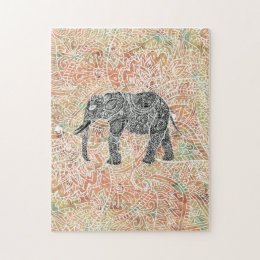 Tribal Paisley Elephant Colorful Henna Pattern Jigsaw Puzzle