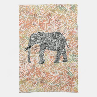 Tribal Paisley Elephant Colorful Henna Pattern Kitchen Towels