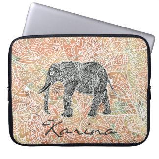 Tribal Paisley Elephant Colorful Henna Pattern Laptop Computer Sleeve