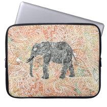 Tribal Paisley Elephant Colorful Henna Pattern Laptop Sleeve