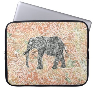 Tribal Paisley Elephant Colorful Henna Pattern Laptop Sleeves