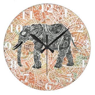 Tribal Paisley Elephant Colorful Henna Pattern Large Clock