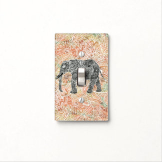 Tribal Paisley Elephant Colorful Henna Pattern Light Switch Cover