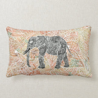 Tribal Paisley Elephant Colorful Henna Pattern Lumbar Pillow