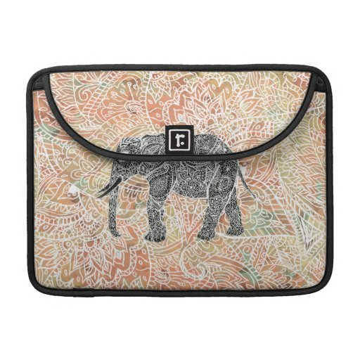 Tribal Paisley Elephant Colorful Henna Pattern Sleeve For MacBook Pro