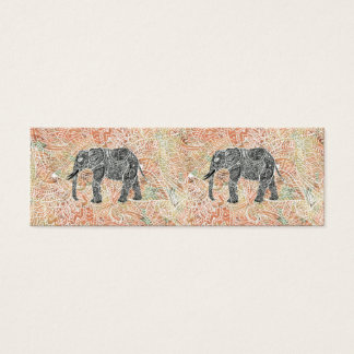 Tribal Paisley Elephant Colorful Henna Pattern Mini Business Card