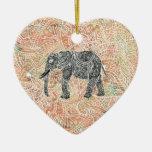 Tribal Paisley Elephant Colorful Henna Pattern Christmas Tree Ornaments
