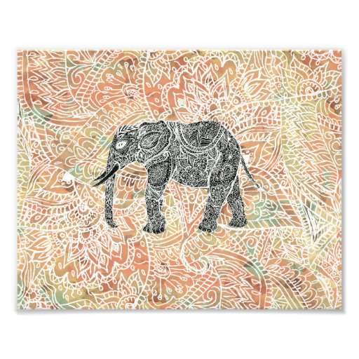 Tribal Paisley Elephant Colorful Henna Pattern Photo Print