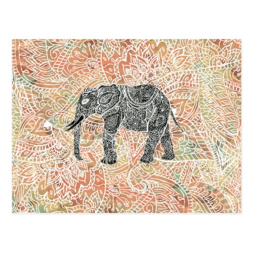 Tribal Paisley Elephant Colorful Henna Pattern Postcard