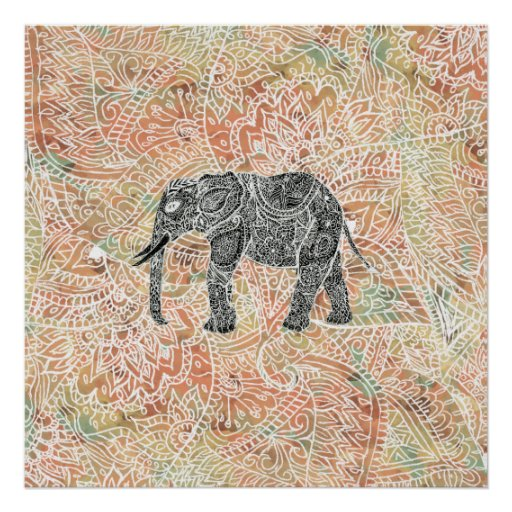 Tribal Paisley Elephant Colorful Henna Pattern Print