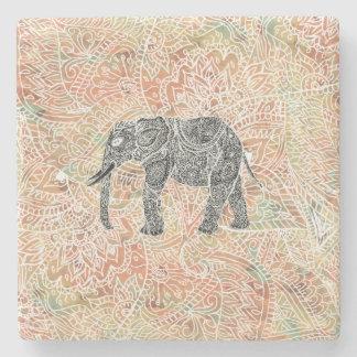 Tribal Paisley Elephant Colorful Henna Pattern Stone Coaster