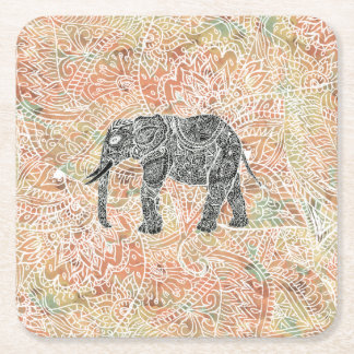 Tribal Paisley Elephant Colorful Henna Pattern Square Paper Coaster
