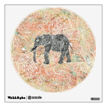 Tribal Paisley Elephant Colorful Henna Pattern Wall Sticker