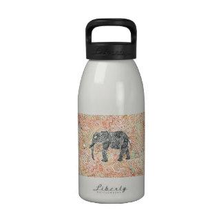 Tribal Paisley Elephant Colorful Henna Pattern Drinking Bottle