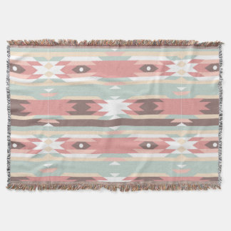 tribal pastel color earth native american pattern throw blanket