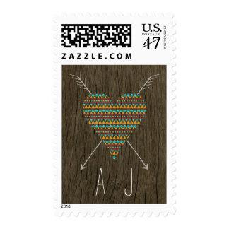 Tribal Pattern Heart Pattern Wedding Yellow / Aqua Postage Stamp