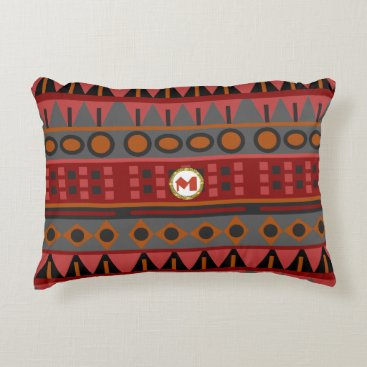 Aztec Themed Tribal Pattern in Shades of Red, Gray and Tan Decorative Pillow