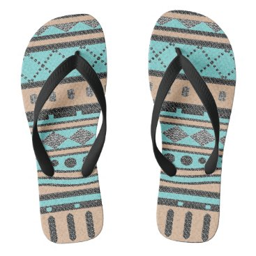 Aztec Themed Tribal Pattern Peach And Turquoise Flip Flops