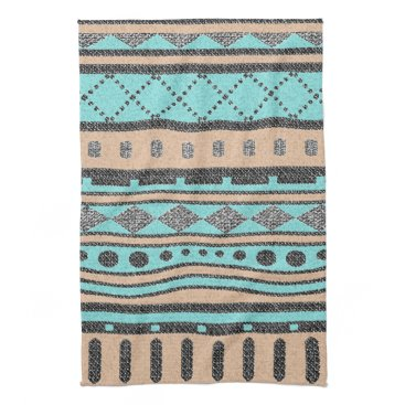 Aztec Themed Tribal Pattern Peach And Turquoise Hand Towel