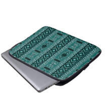 Tribal Pattern Teal And Black Laptop Sleeve