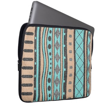 Aztec Themed Tribal Pattern Turquoise And Peach Computer Sleeve
