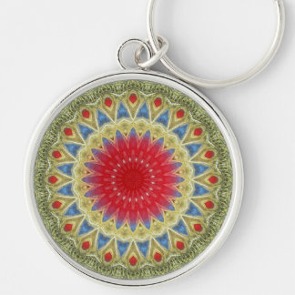 Tribal Pendant Silver-Colored Round Keychain