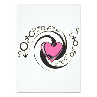 Tribal Pink Heart and Symbols Card