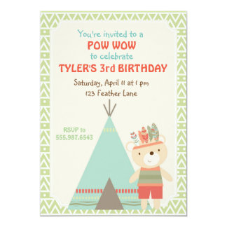 Tribal Pow Wow Bear Birthday Invitation