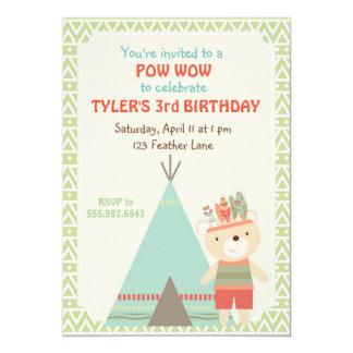Tribal Pow Wow Bear Birthday Invitation