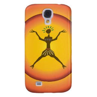 Tribal Primitive Man Glowing Sun Design Galaxy S4 Case