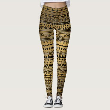 Aztec Themed Tribal Print Black and Gold Aztec Pattern Boho Leggings