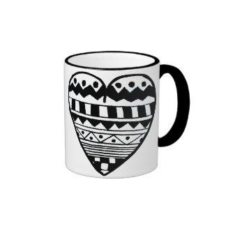 tribal print heart mug