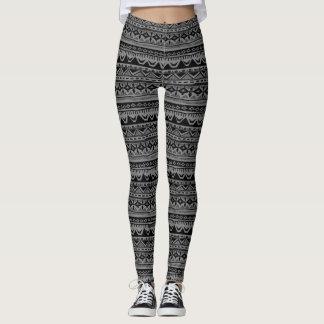 Tribal Print Leggings Black and Gray