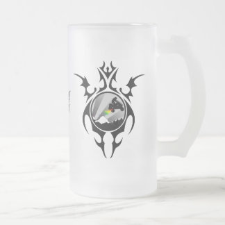 tribal quads frosted glass beer mug