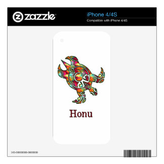 Tribal Rainbow Hawaiian Sea Turtle on White Decals For iPhone 4
