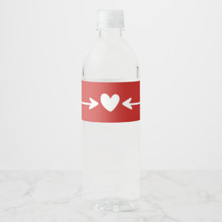 Tribal Red And White Hearts & Love Arrows Wedding Water Bottle Label