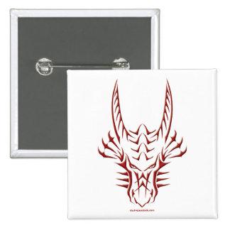 Tribal Red Dragon Head 2 Inch Square Button