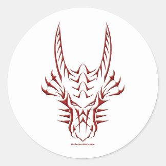 Tribal Red Dragon Head Classic Round Sticker