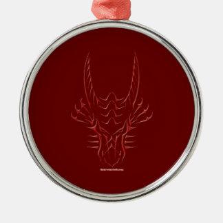 Tribal Red Dragon Head Metal Ornament