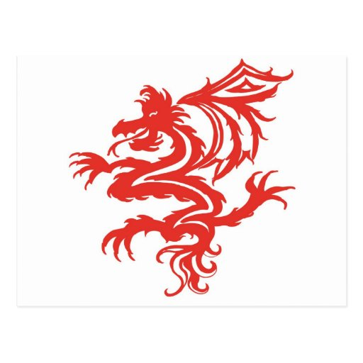 tribal red dragon post card