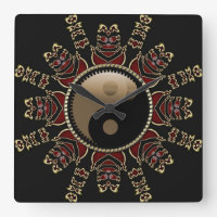 Tribal Red Gold YinYang Geometric Sun Square Wall Clock