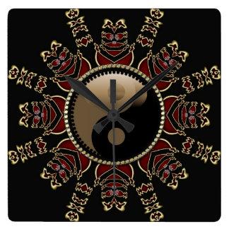 Tribal Red+Gold YinYang Geometric Sun Square Wall Clock