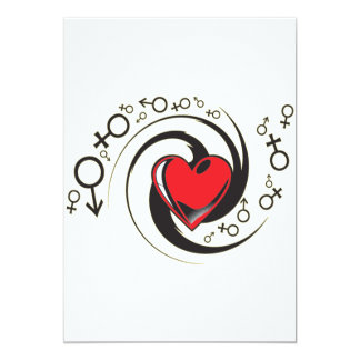 Tribal Red Heart and Symbols Card