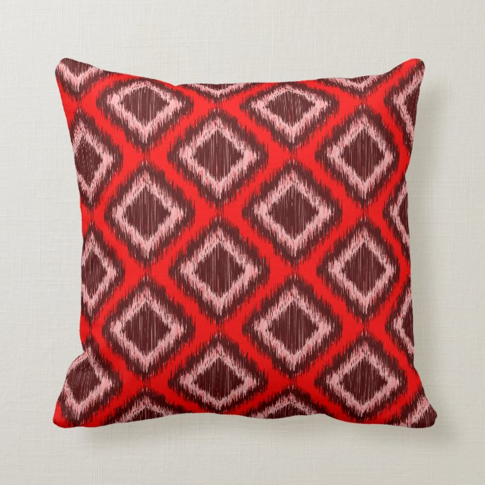 Tribal Red Ikat Modern Chic Pattern Throw Pillow Zazzle