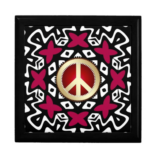 Tribal Red Ribbons Peace Sign Wooden Gift Box